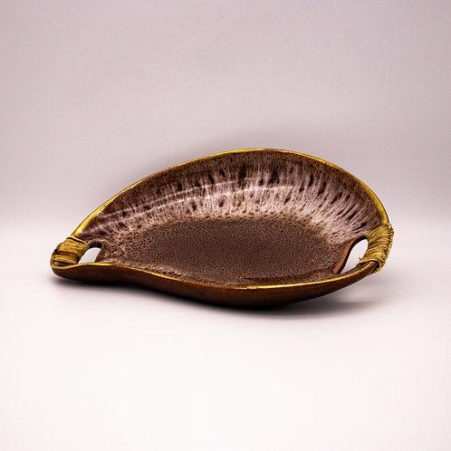 Gmundner Keramik Schale Nierenform, leicht aufgestellt