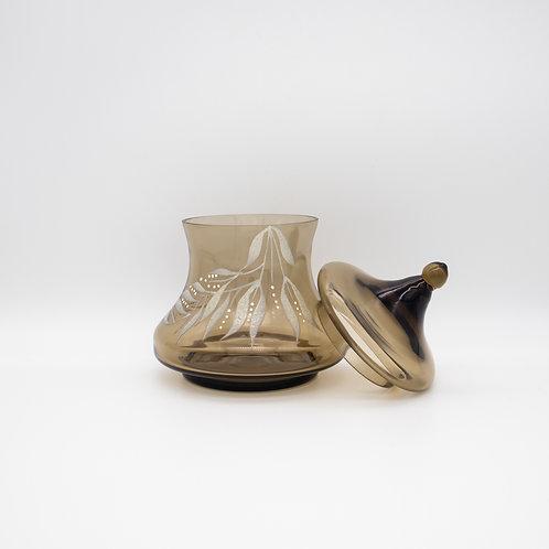 Rauchglas Bonbonniere mit abgenommenen Deckel