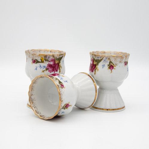 Eierbecherset von Chodzież Porzellan, Dekor Marie Rose