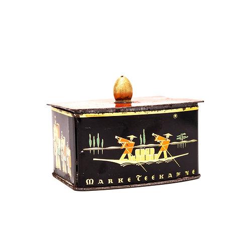Teedose der Marke Teekanne, Ansicht leicht links