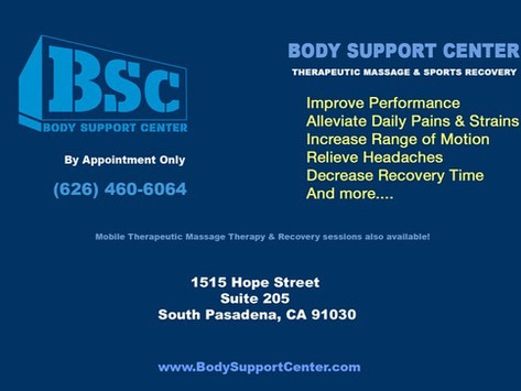 Body Support Center Therapeutic Massage & Sports Recovery has landed in South Pasadena!