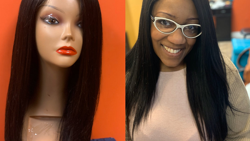 "24""Bone straight Side Part wig unit"