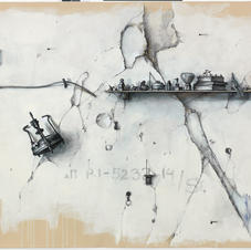Pencil and charcoal on paper 150x125cm.