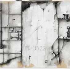 Pencil and charcoal on paper 160x130cm.