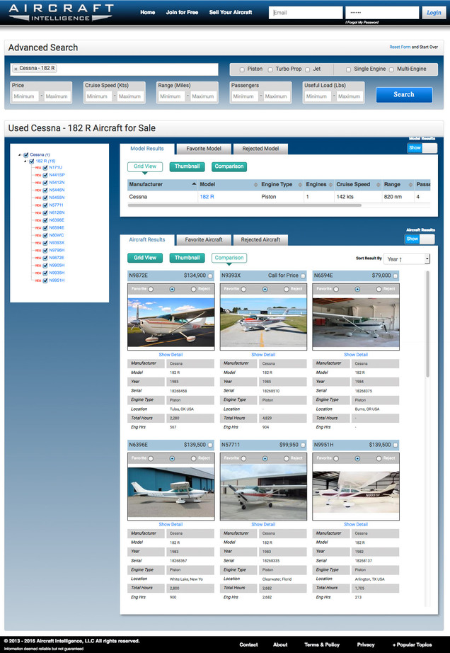 Aircraft Intelligence Search Results