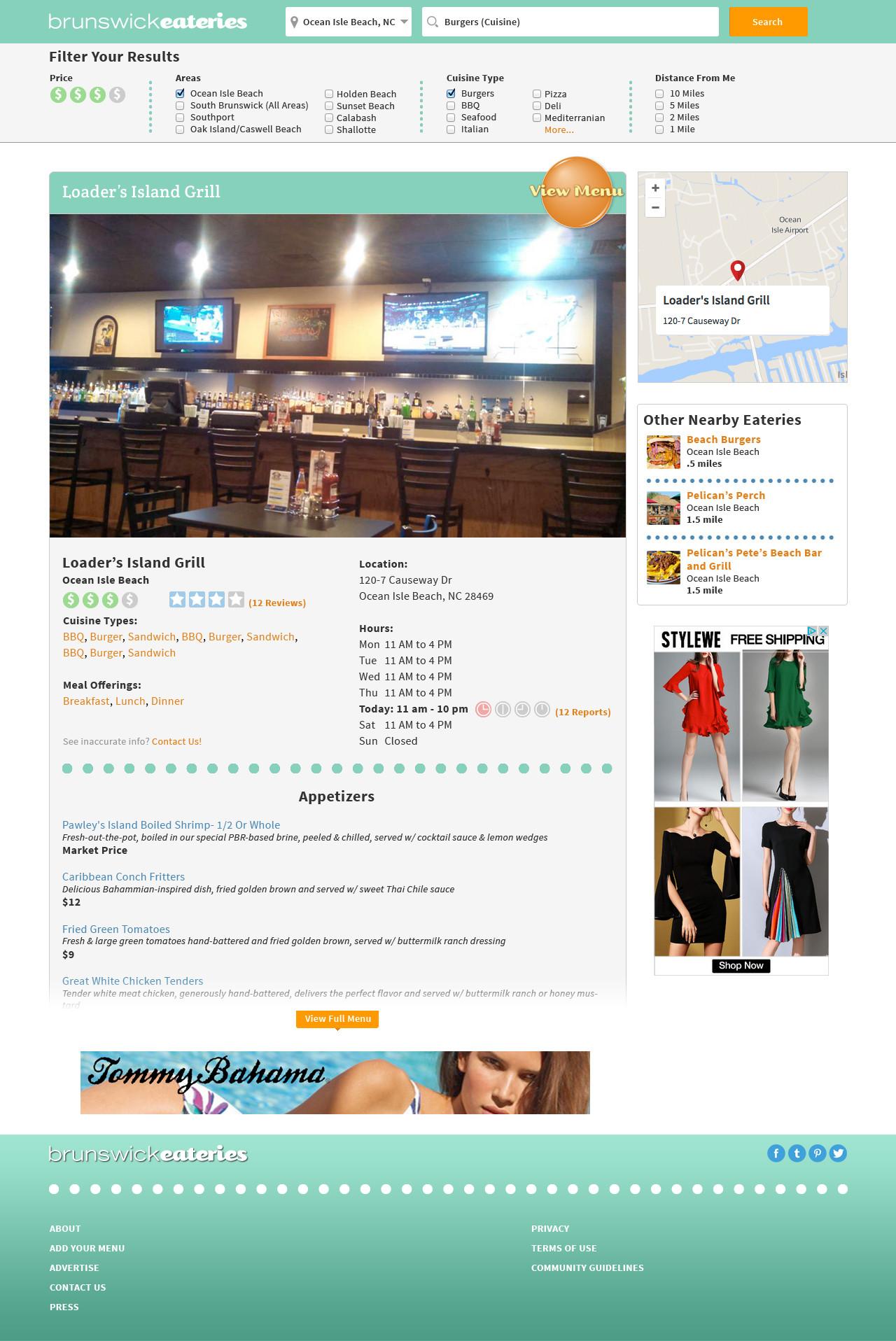 BrunswickEateries.com Restaurant Page