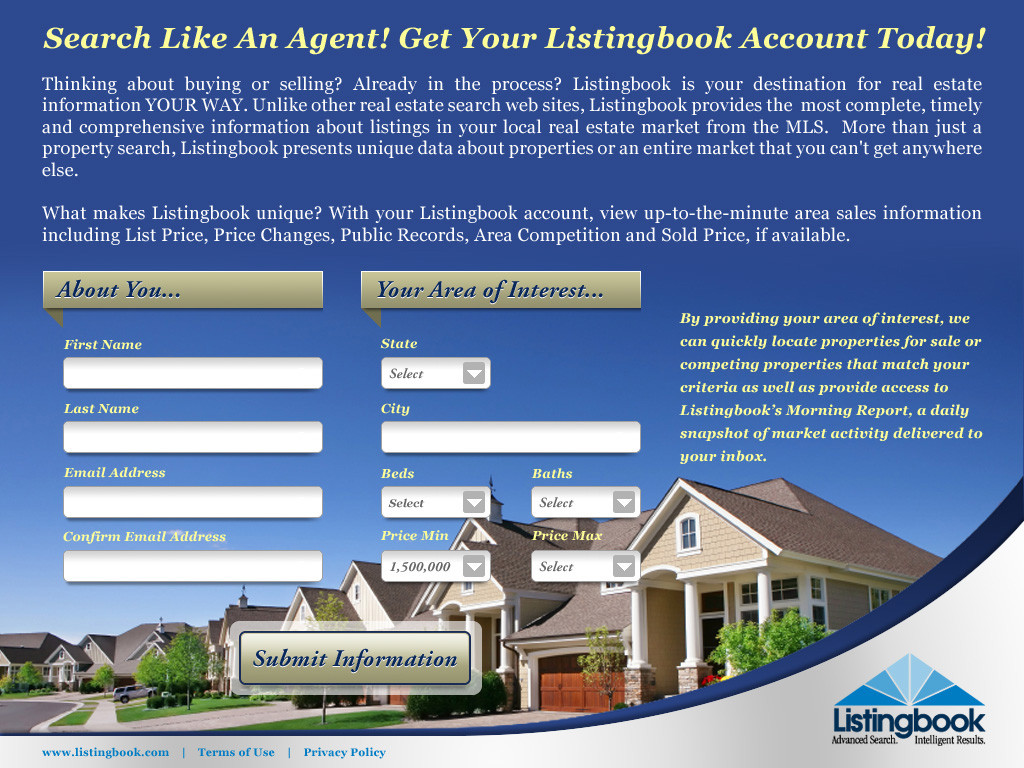 Listingbook Get An Account Landing Page