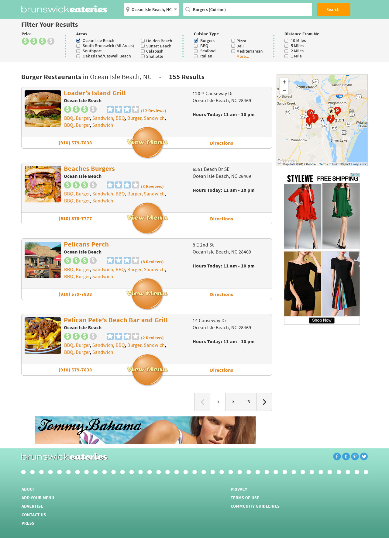 BrunswickEateries.com Search Results Page