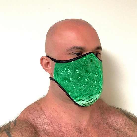 Green Velvet Crystal Mask w/ Filter Lining