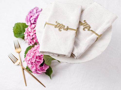 Mr. & Mrs. Napkin Wrap Set- Matte Gold