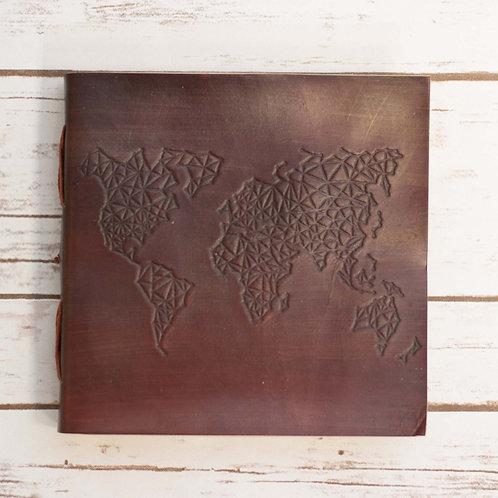 World Map Square Handmade Leather Journal / Album
