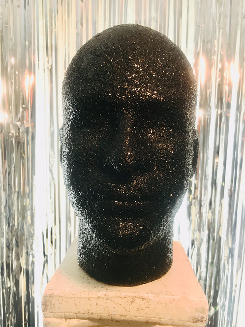 Black Glitter w/ Leopard, Mannequin Head Display Lightweight and Portable Glam