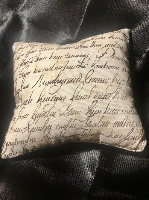 PILLOW TALK, handmade Cursive Writing Design Pincushion Pillows