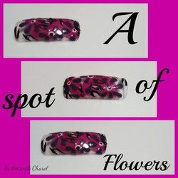 Pink Flowers and Dots Nail Art