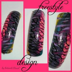 Colorful Zebra Print Nail Art