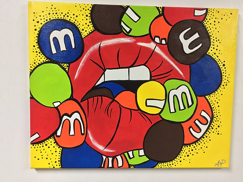 Hand Painted Chocolate Coverd Candy, Lip Pop Art W/ Texture Finish