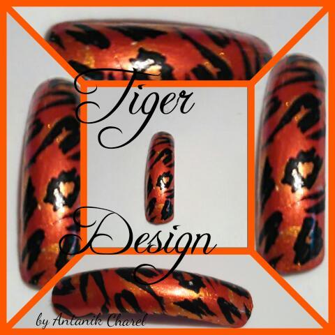 Orange Tiger Nail Art Design