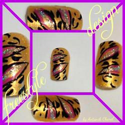 Gold Tiger Stripes Nail Art