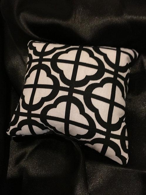 PILLOW TALK, handmade Blk and White Textile Print Design Pincushion Pillow
