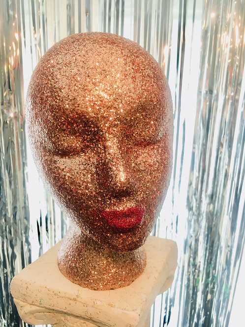 Champagne Glitter, Mannequin Head Display Lightweight and Portable Gl