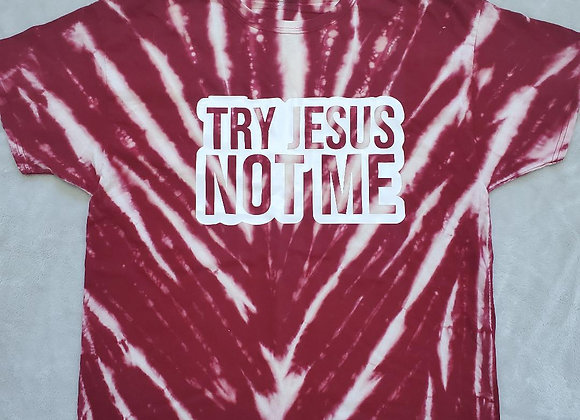 """""""Try Jesus"""" reverse maroon tee (XL)"""