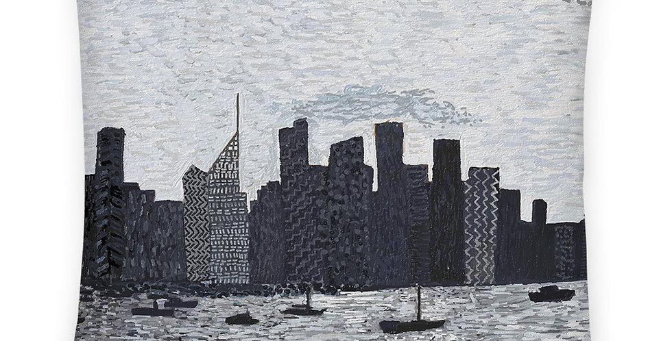 सिडनी सिटी स्काईलाइन (काला और सफेद) प्रीमियम तकिया