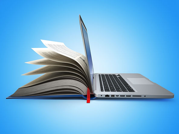 E-learning. Concept of education. Internet labrary. Book and Laptop. 3d.jpg
