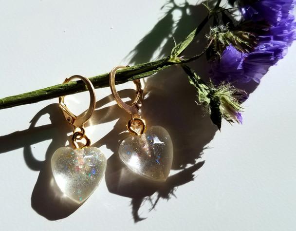 Clear Heart Sparkle Earrings