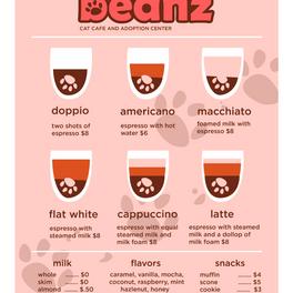 Cat cafe menu design