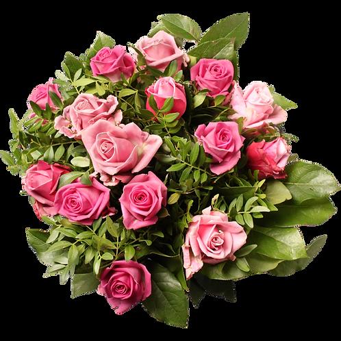 Boeket met enkel rozen in de roze tinten.