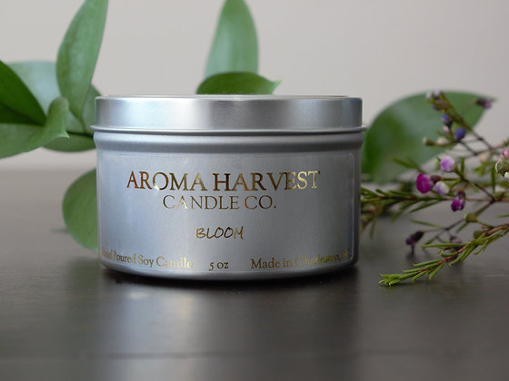 5 oz Soy Candle tin- Bloom with fragrant notes of floral, sweet cream, and sea salt.