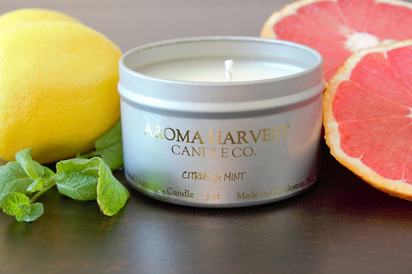 CITRUS & MINT- 5 oz soy candle tin, with fragrance notes of grapefruit, juicy citrus and garden fresh mint.