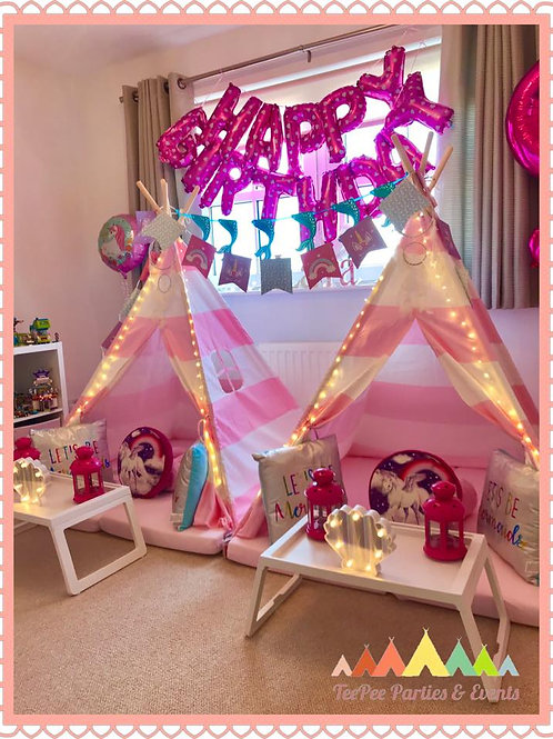 Unicorn Theme Sleepover - 2 x TeePee (4 kids)