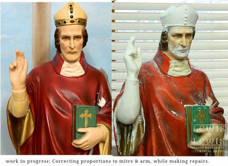 correcting undersized arm and mitre on statue