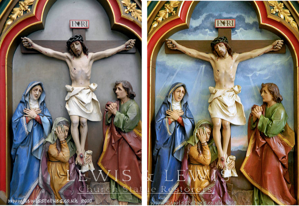 Crucifixion scene: Station of the cross restored