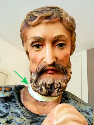 Nativity shepherd with masking tape on neck