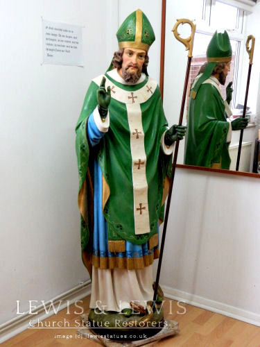 Restored statue of Saint Patrick