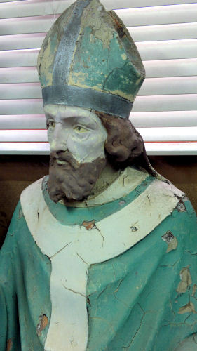 Weathered Saint Patrick statue