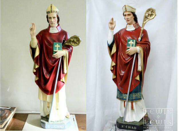 St. Chad statue before and after restoration
