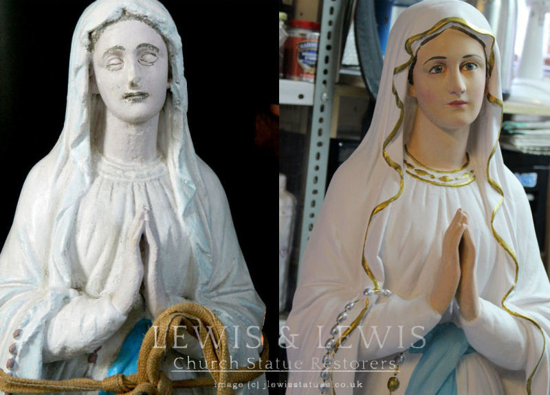 Our Lady of Lourdes statue restored