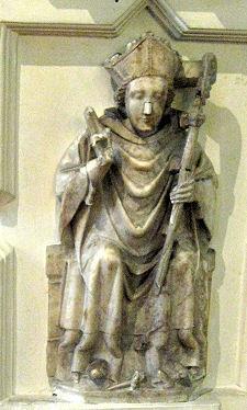Medieval Bishop carved in Alabaster