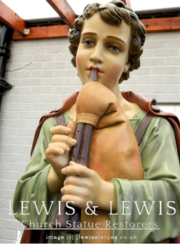 Restoring Nativity shepherd with broken flute