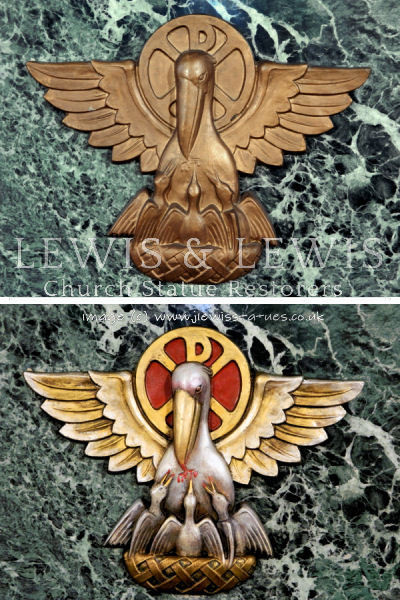 Pelican symbol before & after polychrome