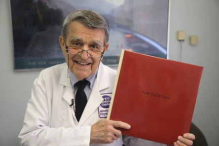 """an image of Dr. John Sarno who came up with the tension myositis syndrome, and the author of """"Healing Back Pain"""""""