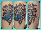 mandala tattoo, butterfly tattoo, forear