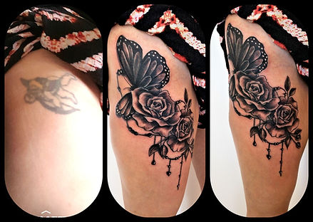 cherub cover-up tattoo, butterflies and roses, thigh tattoo
