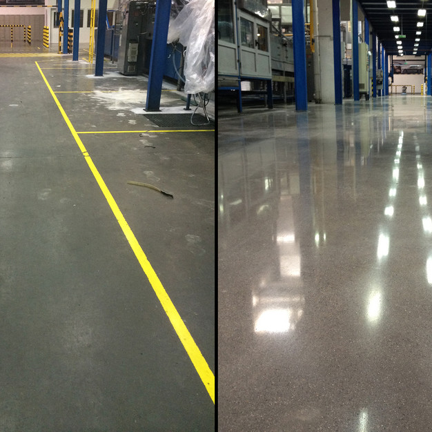 Üzem padlójának polírozása és pormentesítése C2™ technológiával   1800 m2