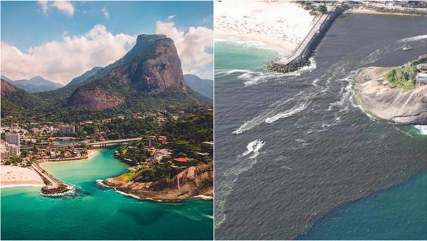 Registros feitos no mesmo dia na Barra da Tijuca chocam e evidenciam a poluição das praias cariocas