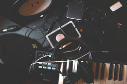 Various audio equipment and cords