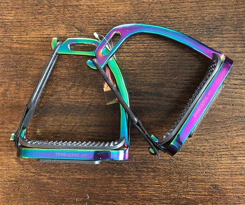"Evo Equine Rainbow Gloss Peacock Stirrups. 4.5"""